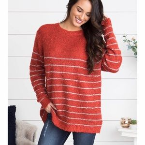 Sweaters - Red Striped Oversized Sweater